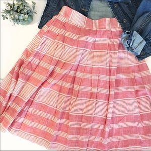 Comme Toi | Midi Skirt Red & White Cotton Pockets